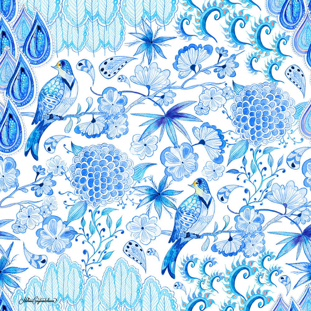 Dewdrops chinoiserie chic textile design by milena for Chinoiserie design