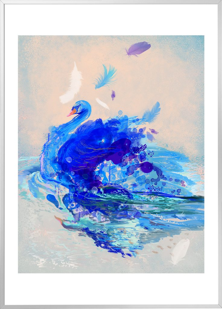 Blue Swan - silver framed, limited edition print of 45 by Milena Gaytandzhieva