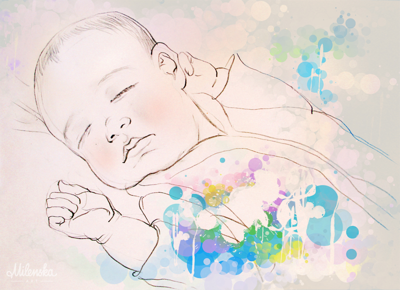 Sleeping baby illustration by Milena Gaytandzhieva, mixed media