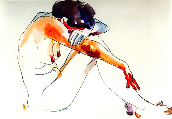 Model - Watercolor Drawing by Milena Gaytandzhieva