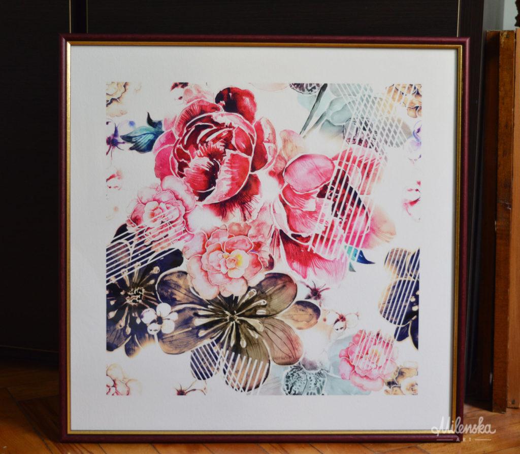 Floral Art Print on Fine Art Paper by Milena Gaytandzhieva, 50x50 cm