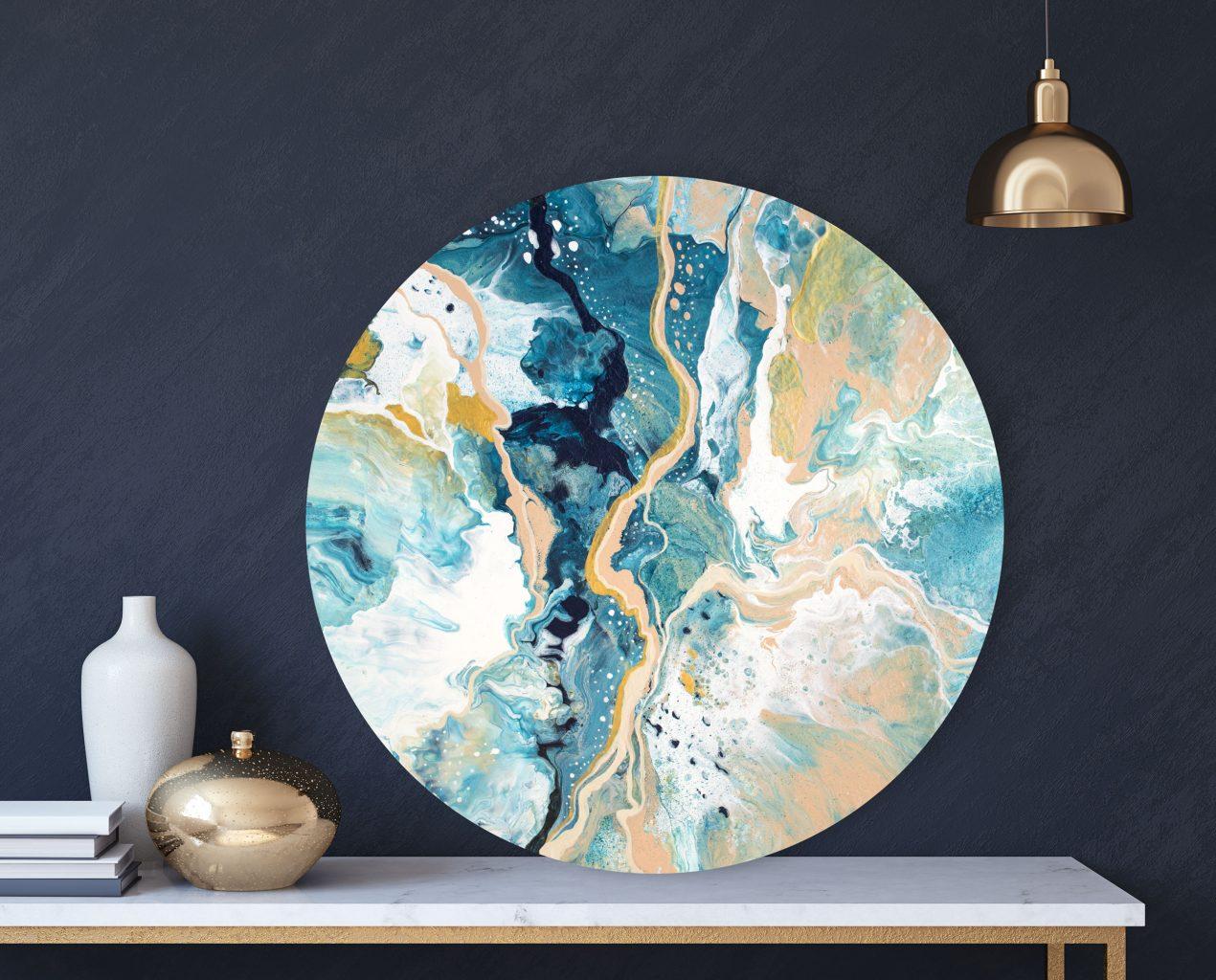 Original Round Painting: Marble World 12