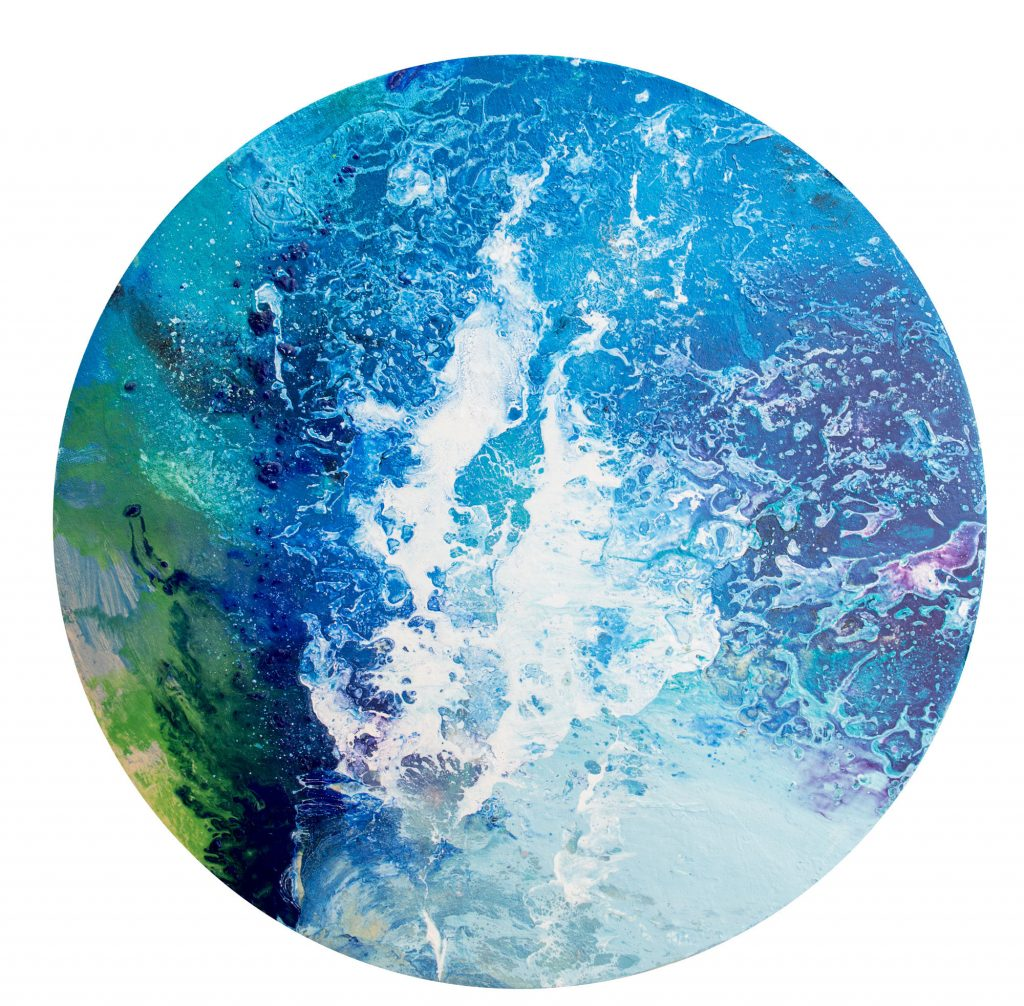 Sea Wave - original circular painting by Milena Gaytandzhieva. 40 cm