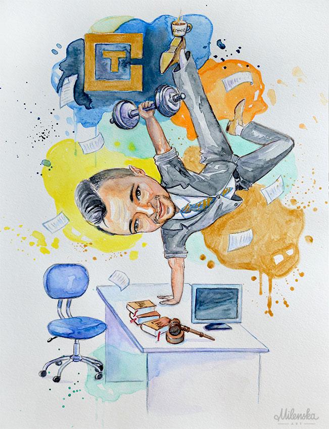 Caricature Personalized Watercolor Illustration