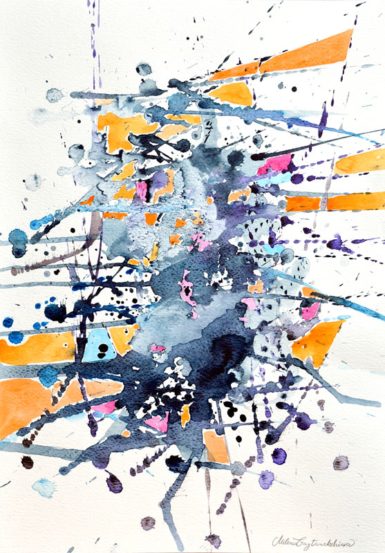 Abstract 2 - Sold, Watercolor painting by Milena Gaytandzhieva