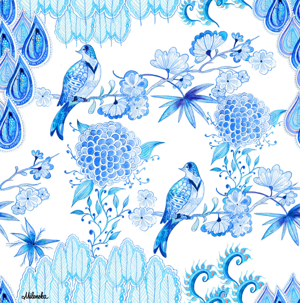 Chinoiserie-Chic Textile Design