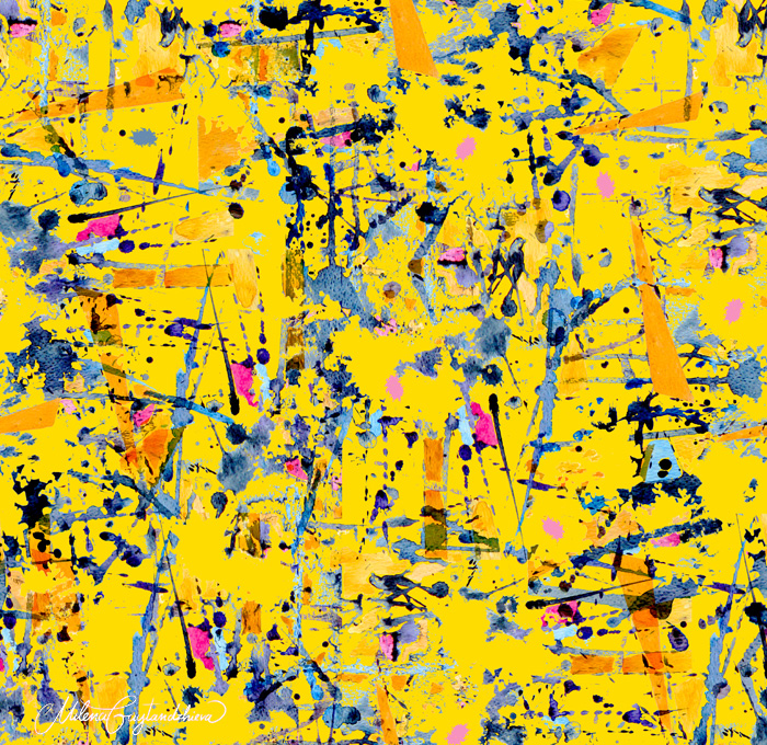 Yellow abstract pattern design by Milena Gaytandzhieva Artist & Designer