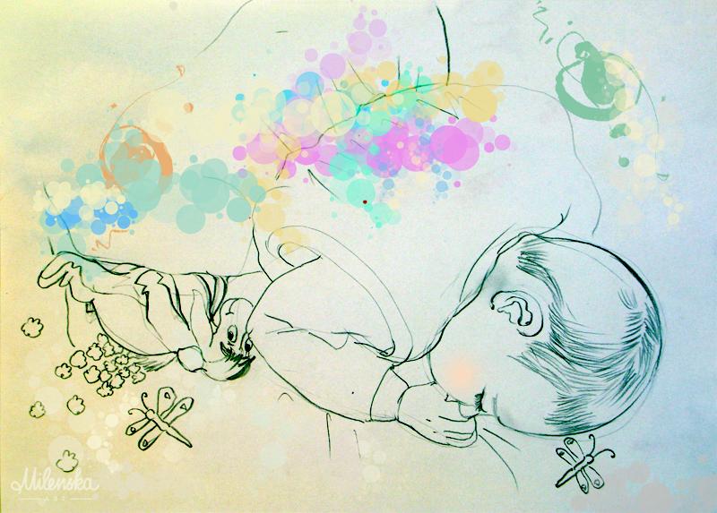 Sleeping baby illustration by Milena Gaytandzhieva, mixed media
