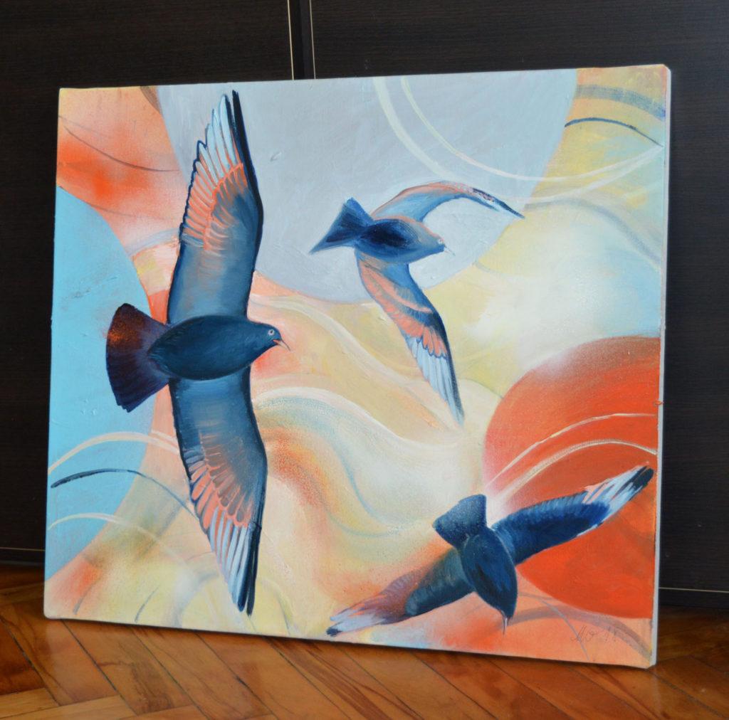 Play - birds painting by Milena Gaytandzhieva