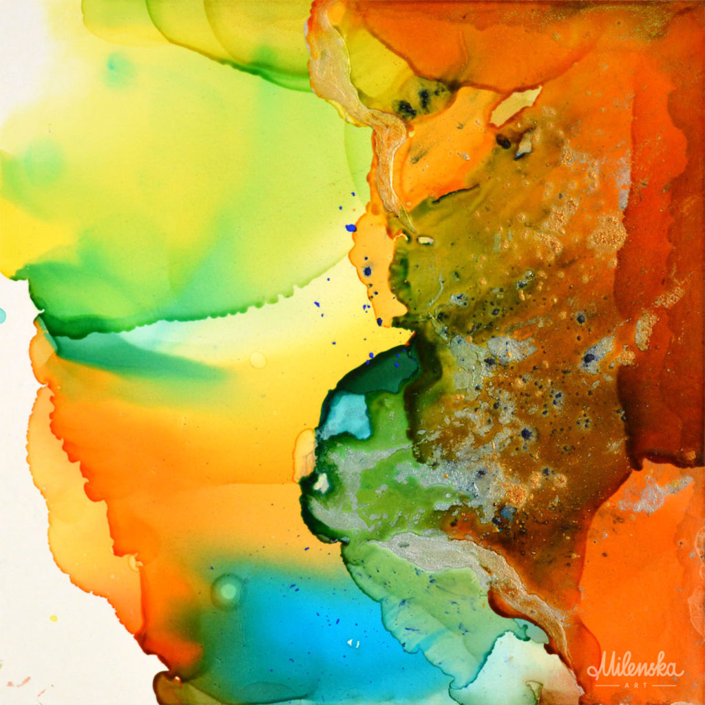 Small square abstract painting