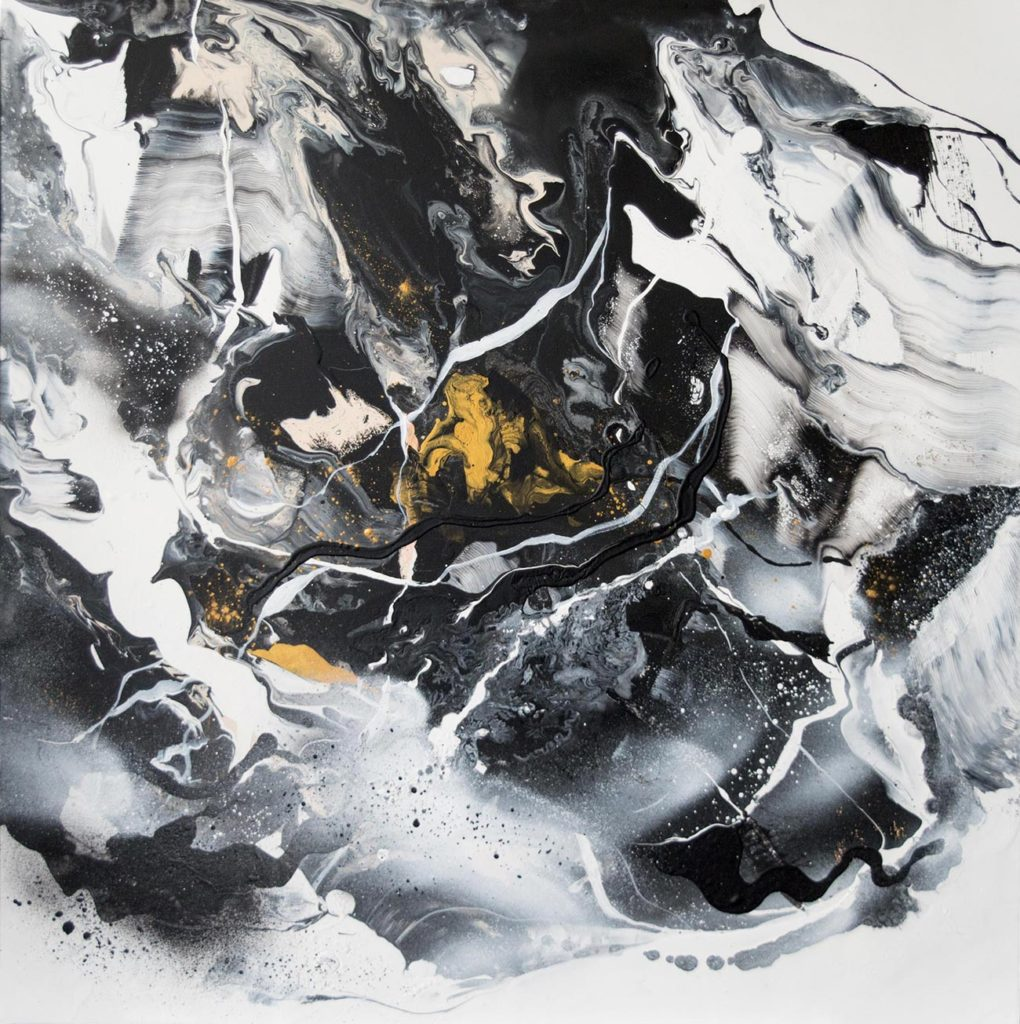 Large Abstract Painting: Black & White 2 by Milena Gaytandzhieva