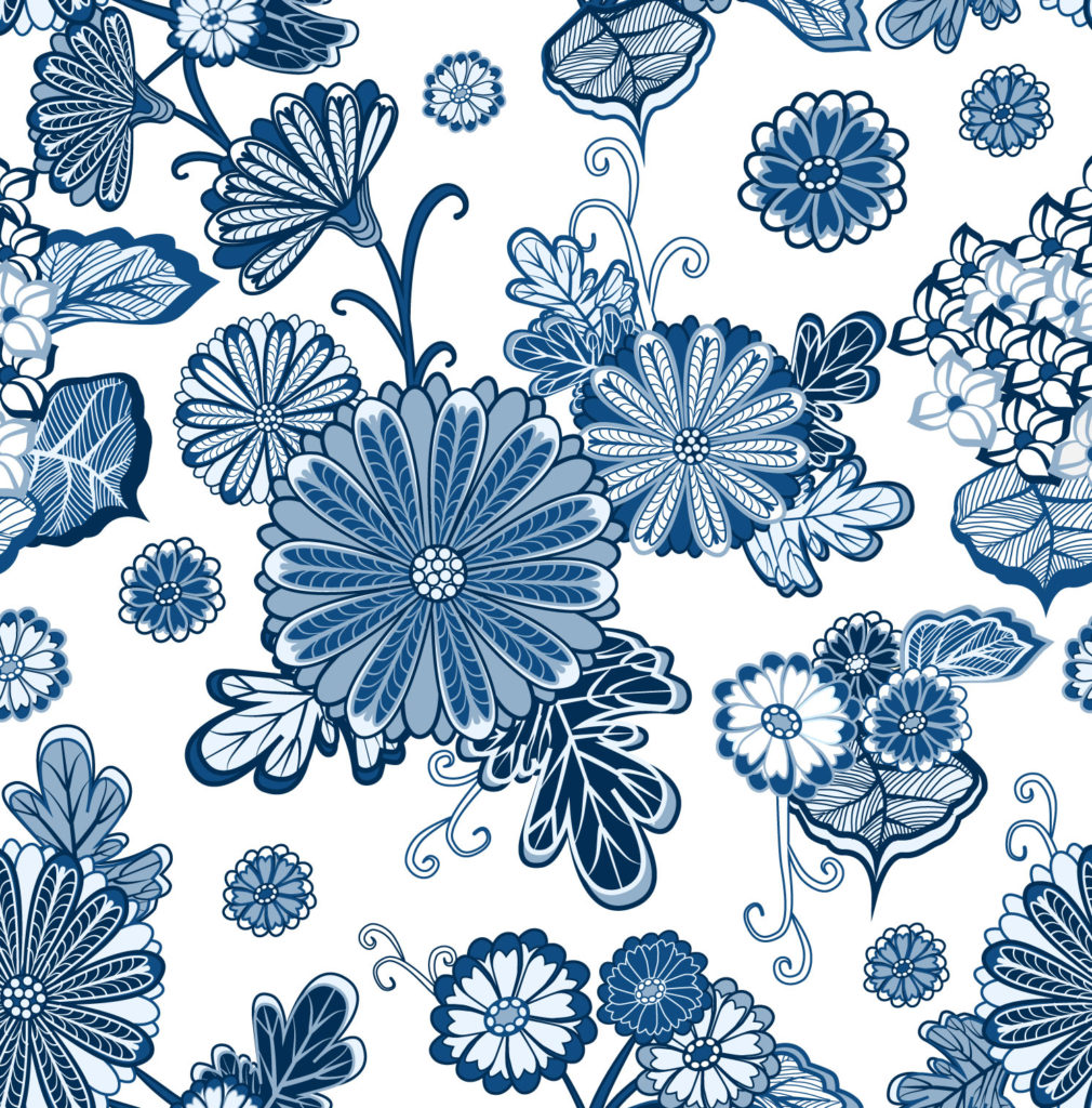 Blue and white floral design