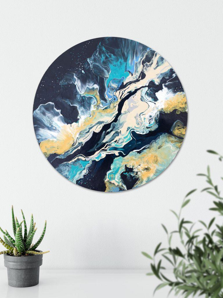 Original circular painting by Milena Gaytandzhieva, acrylic on canvas panel 40 cm