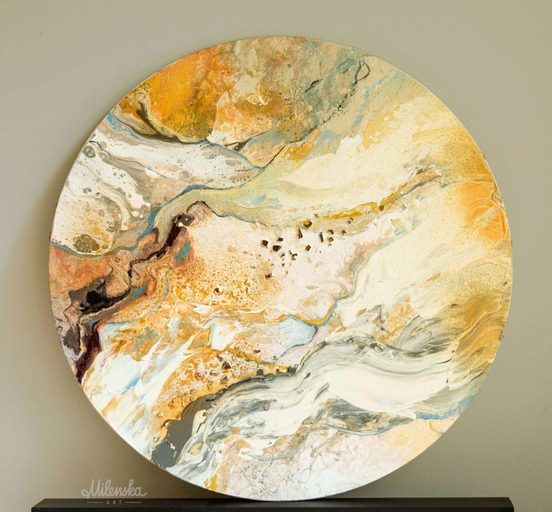 Original Circular Painting: Marble World 11 by Milena Gaytandzhieva