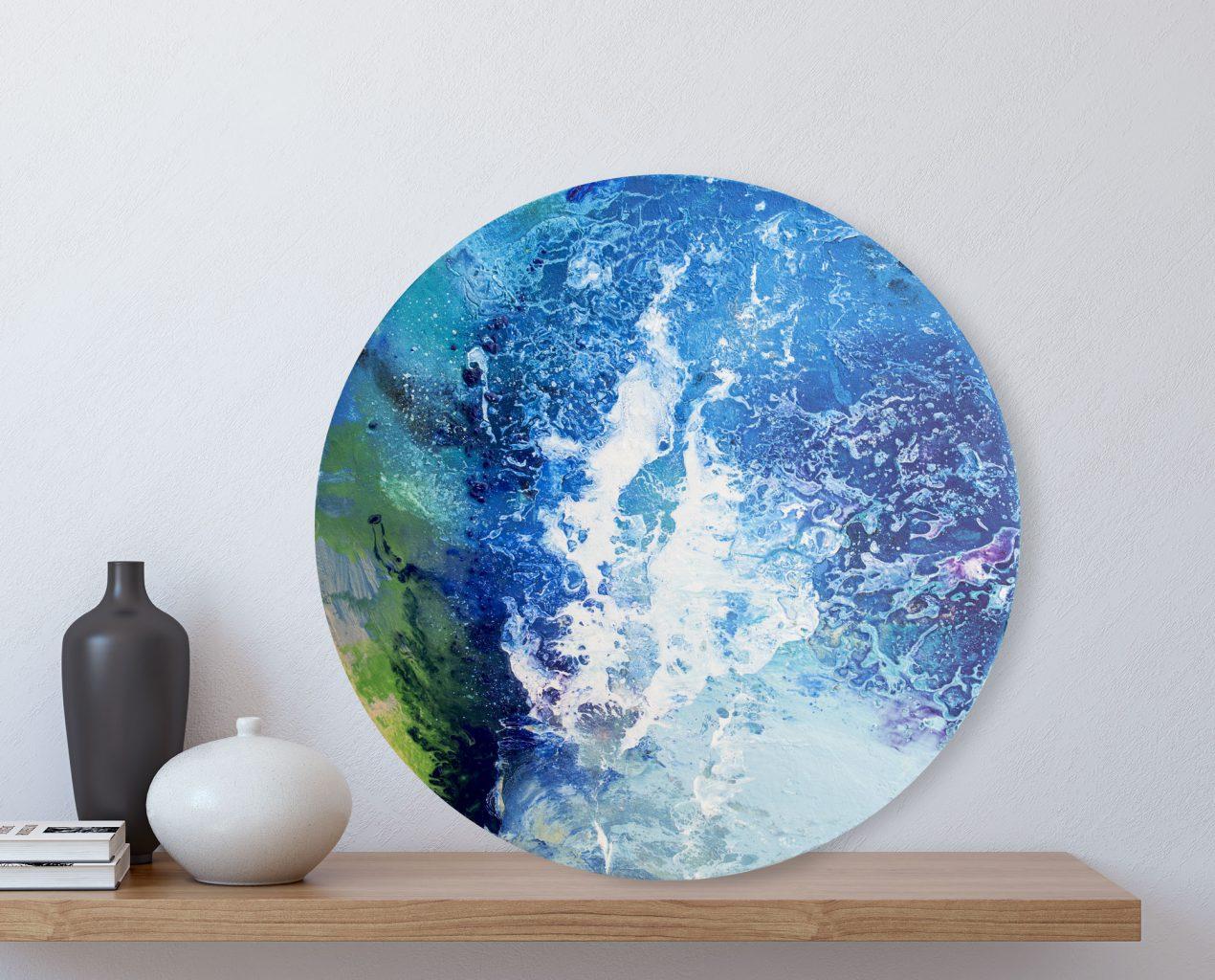 Sea Wave - original circular painting by Milena Gaytandzhieva. 40 cm