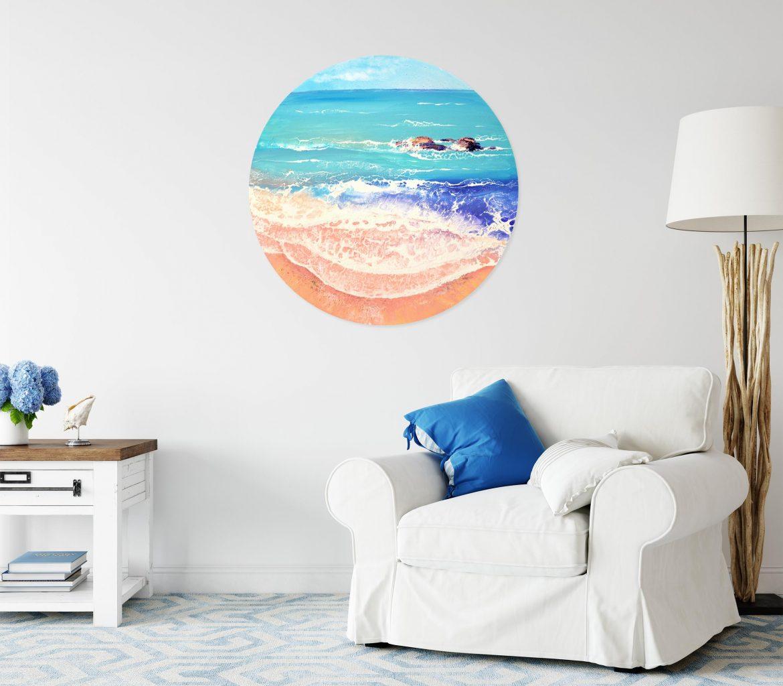 Original seascape painting ot circular canvas, 70 cm by Milena Gaytandzhieva