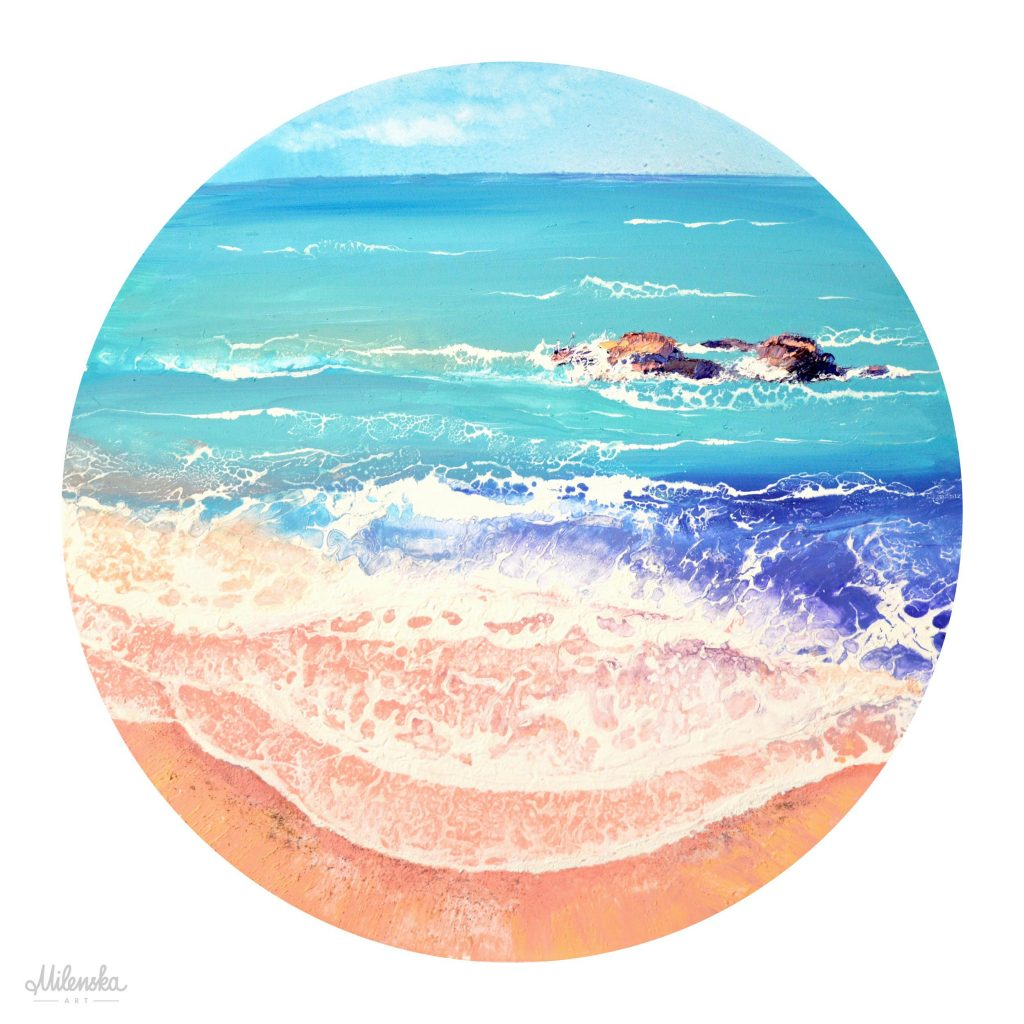 Original seascape painting ot circular canvas, 70 cm by Milena Gaytandzhieva