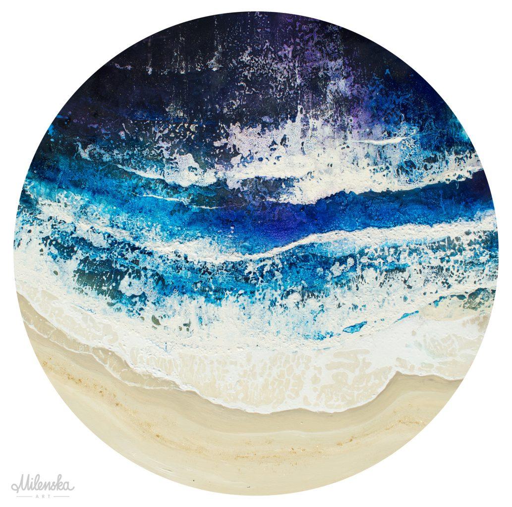 Original circular seascape painting by Milena Gaytandzhieva